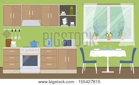 Kitchen in a green color. There is a kitchen furniture of a beige color, a table, two blue chairs, a kettle, a microwave and other objects in the picture. Vector flat illustration