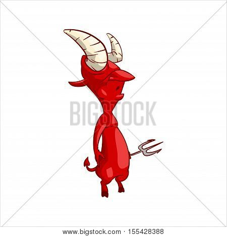 Colorful vector illustration of a cartoon red demon imp or devil
