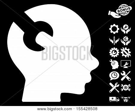 Brain Wrench Tool icon with bonus service graphic icons. Vector illustration style is flat iconic white symbols on black background.