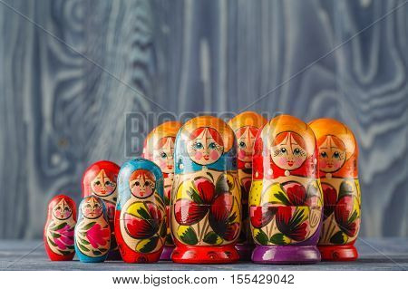 Colorful Russian Nesting Dolls Matreshka Babushka Are Most Popular Souvenir From Russia