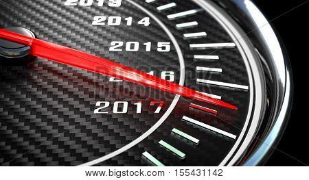 new year day 2017 speedometer 3d rendering