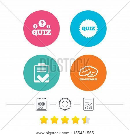 Quiz icons. Brainstorm or human think. Checklist symbol. Survey poll or questionnaire feedback form. Questions and answers game sign. Calendar, cogwheel and report linear icons. Star vote ranking