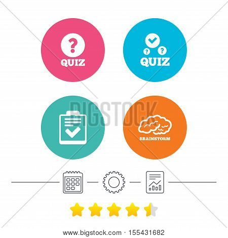 Quiz icons. Human brain think. Checklist with check mark symbol. Survey poll or questionnaire feedback form sign. Calendar, cogwheel and report linear icons. Star vote ranking. Vector
