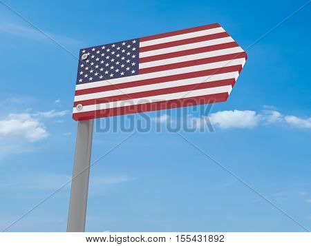 Guidepost: US Road Sign Arrow Against Blue Sky 3d illustration