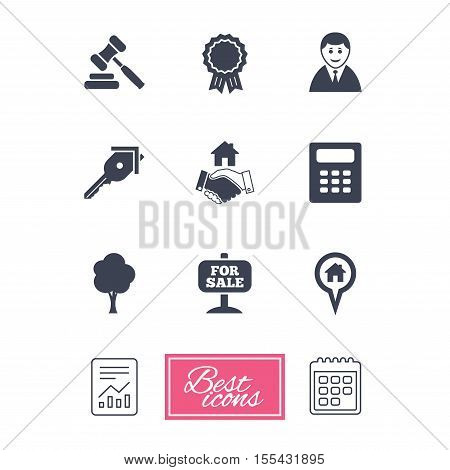 Real estate, auction icons. Handshake, for sale and calculator signs. Key, tree and award medal symbols. Report document, calendar icons. Vector