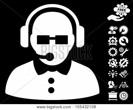 Female Operator icon with bonus service clip art. Vector illustration style is flat iconic white symbols on black background.