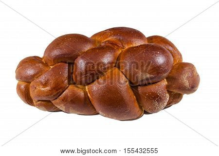 A loaf of Challah bread against a white background