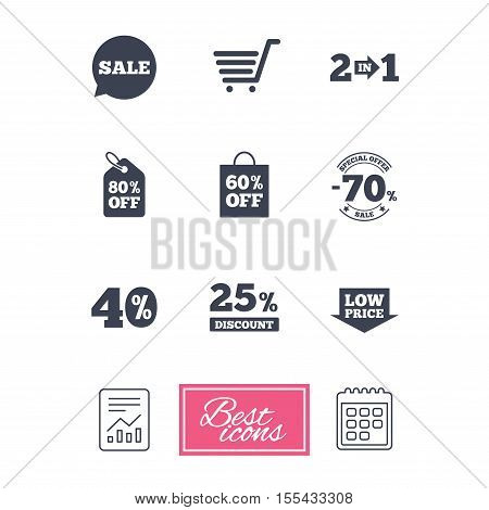 Sale discounts icon. Shopping cart, coupon and low price signs. 25, 40 and 60 percent off. Special offer symbols. Report document, calendar icons. Vector