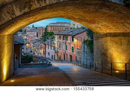 Perugia Via dell Acquedotto scenic view at twilight