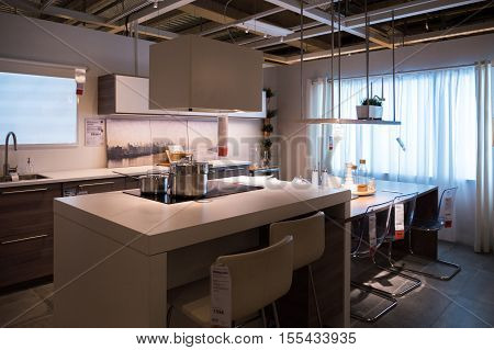 PARIS FRANCE - OCT 21 2016: Modern kitchen furniture and kitchen appliances in the modern IKEA shopping furniture mall in Paris