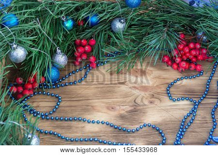Christmas And New Year Ornament Decorating Background With Copy Space