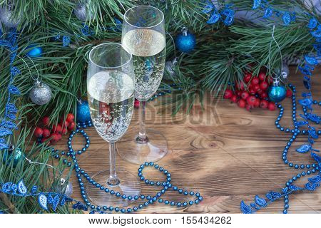 Christmas And New Year Holiday Composition, Champaign, Pine, Ornament Decoration