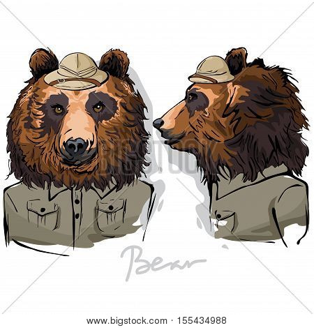 A vector illustration of Bear Dressed as Human Ranger