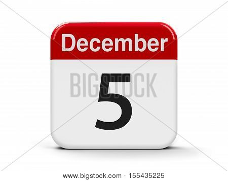 Calendar web button - The Fifth of December - International Volunteer Day three-dimensional rendering 3D illustration