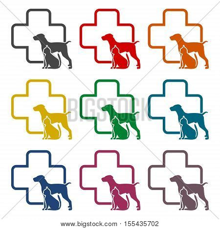 Veterinary icon with medicine symbol set on white background