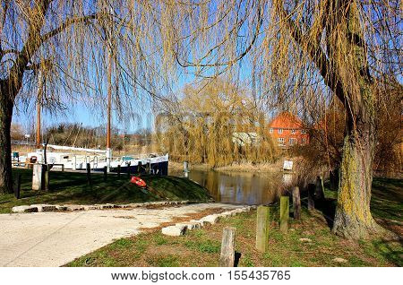 Willows overhanging the river Stour in the Kent town of Sandwich