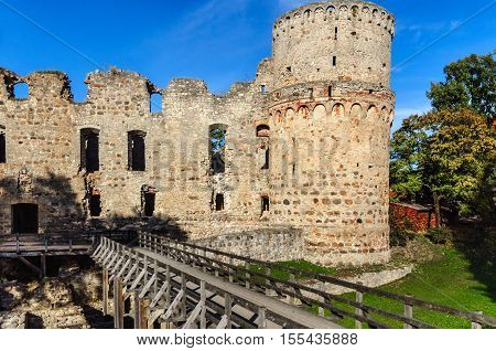 Old castle ruins in Cesis town, Latvia