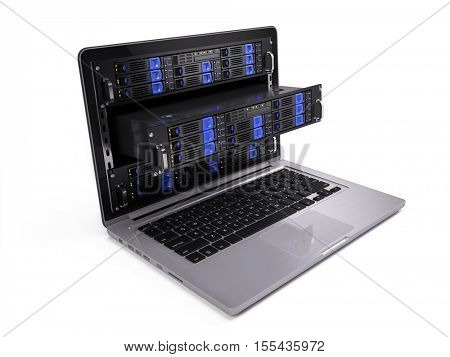 Computer rack servers in laptop screen - 3d illustration