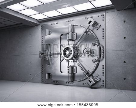 Closed Bank Vault Door. 3d render