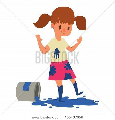 Artist kid children. Education artist kid children painting. Creative little artist baby kid children preschool colorful character vector.