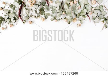 Header. Eucalyptus branches and pink rose buds on white background. Flat lay top view. Floral composition