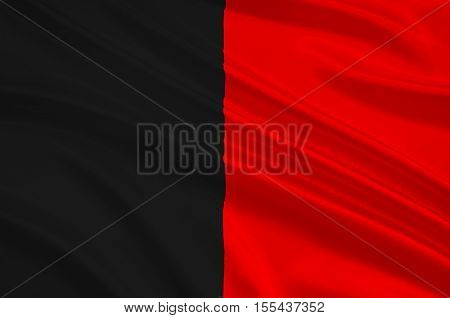 Flag of Aosta Valley is a mountainous semi-autonomous region in northwestern Italy. 3d illustration