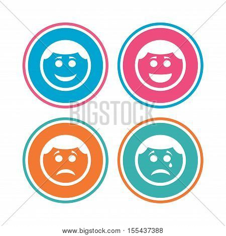 Circle smile face icons. Happy, sad, cry signs. Happy smiley chat symbol. Sadness depression and crying signs. Colored circle buttons. Vector