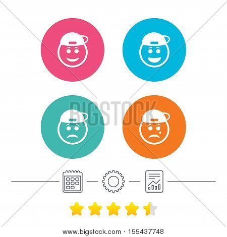Rapper smile face icons. Happy, sad, cry signs. Happy smiley chat symbol. Sadness depression and crying signs. Calendar, cogwheel and report linear icons. Star vote ranking. Vector