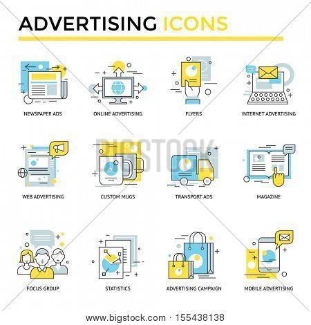 Advertising icons, thin line, flat design