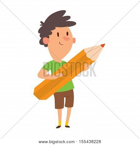 Boy looking up thinking holding giant pencil kid school student vector. Boy holding pencil student cute happy person. Male people childhood boy holding pencil cartoon schoolboy drawing.