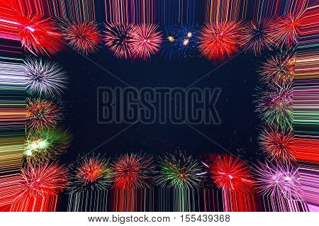 Beautiful celebration holiday fireworks frame. 4th of July beautiful fireworks. Independence Day Christmas New Year holidays salute copy space.