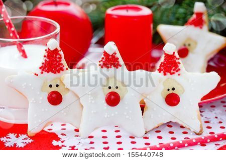 Funny Santa Claus Christmas gingerbread cookies with icing