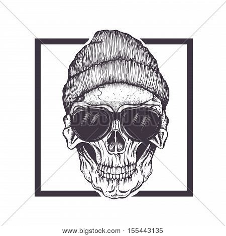 Hipster skull with sunglasses and hat.Fashion style.Vector hand drawn illustration