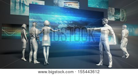 Telecommunications Network Concept with Virtual Presentation Background 3d Illustration Render