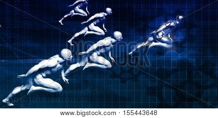 System Development and Business Process Cycle Art 3d Illustration Render