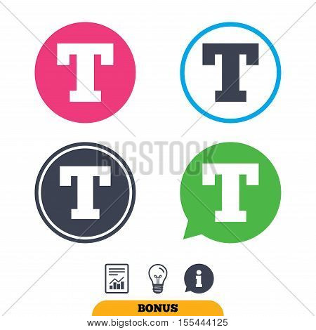 Text edit sign icon. Letter T button. Report document, information sign and light bulb icons. Vector