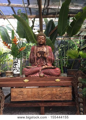 Meditation area in a secluded garden in Maui, HI.