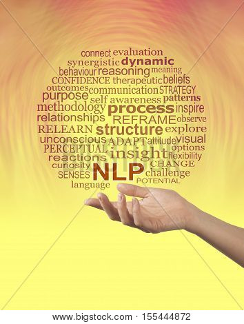 Aspects of Neuro Linguistic Programming NLP word cloud - female hand palm up offering NLP word cloud with a bright orange and yellow background and copy space below