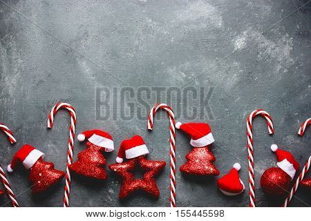 Christmas background candy cane christmas tree star santa hat decorations