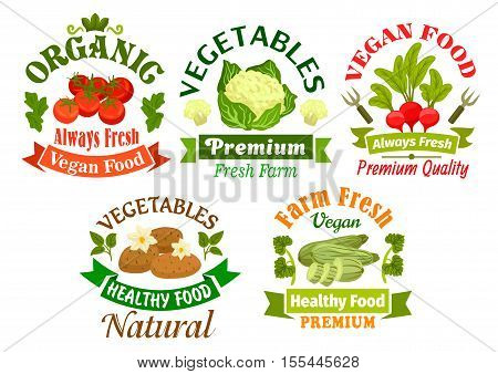 Organic vegan vegetables food emblems. Vegetarian nutrition elements of fresh natural farm vegetables. Vector isolated tomato, cauliflower, radish, potato, cucumber for grocery store, vegan cafe, restaurant design