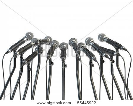 Microphones prepared for press conference or interview  isolated on white. 3d illustration