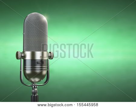 Retro old microphone. Radio show or audio podcast concept. Vintage microphone on green background. 3d illustration