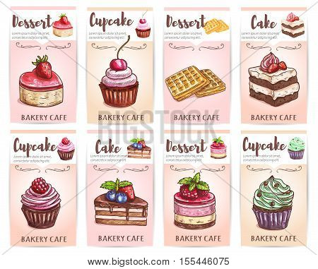 Cafe, cafeteria, patisserie desserts menu. Sketch icons of sweet cupcakes, cakes, chocolate muffins, wafers, waffles with fruits and berries. Vector stickers, posters for bakery shop desserts price tags