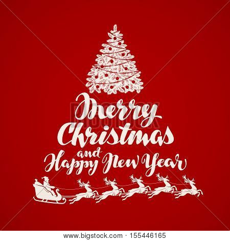Merry Christmas greeting card. vintage xmas banner vector illustration