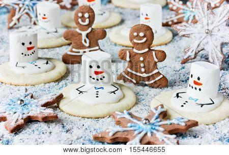 Christmas Cookies - melting snowman gingerbread man gingerbread snowflake
