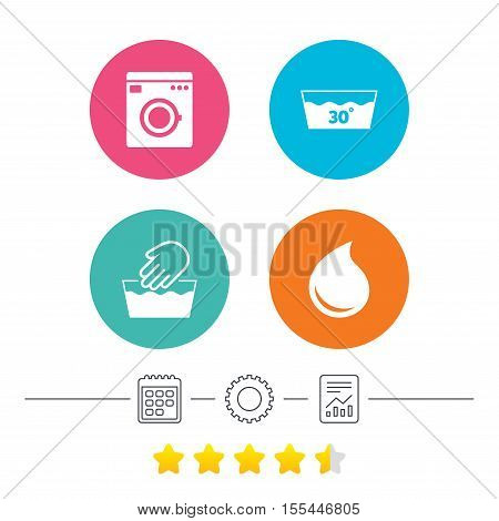Hand wash icon. Machine washable at 30 degrees symbols. Laundry washhouse and water drop signs. Calendar, cogwheel and report linear icons. Star vote ranking. Vector