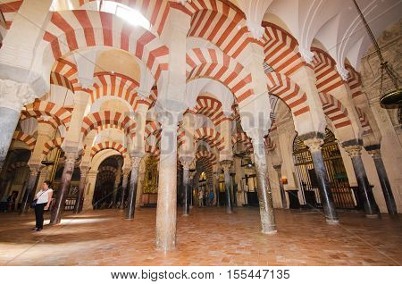 CORDOBA SPAIN - MAY 3: Famous Cordoba mosque on May 3 2014 in Cordoba Andalusia Spain.