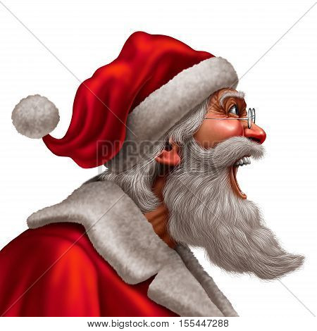 Santa Claus laughing or yelling as a winter festive christmas time message concept with a man in a red suit wearing a beard expressing his feelings with 3D illustration elements on a white background.