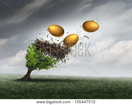 Retirement fund crisis concept as a tree in peril with a nest and gold eggs falling out during a destructive thunder storm as a metaphor for financial investment problems for retiring seniors or financial debt stress symbol with 3D illustration elements.
