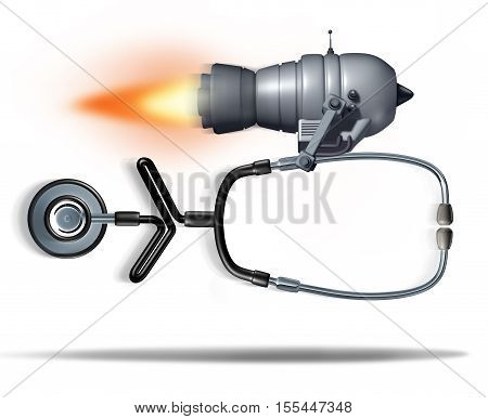 Fast medical service concept as a jet engine quickly moving a doctor stethoscope as a health care symbol for urgent hospital care or faster clinical services as a 3D illustration.